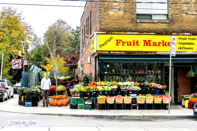 Historic brick Pearson Fruit Market in Roncesvalles, Toronto, part of a trip to Toronto in the fall.