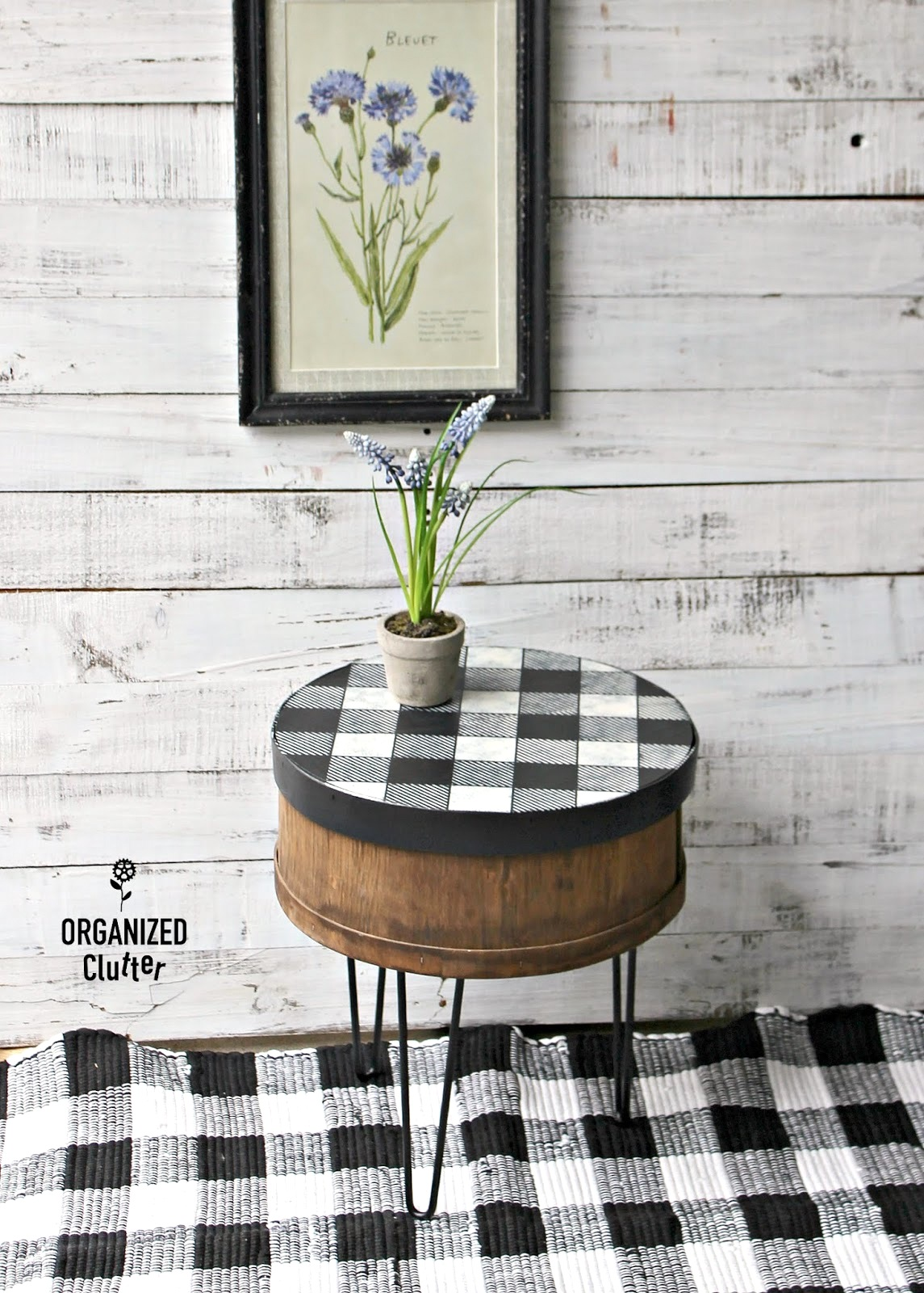 Buffalo Checked cheese box side table with pin legs by Organized Clutter, featured on Funky Junk Interiors