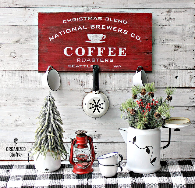 Christmas black white and red buffalo check vignette by Organized Clutter, featured on Funky Junk Interiors