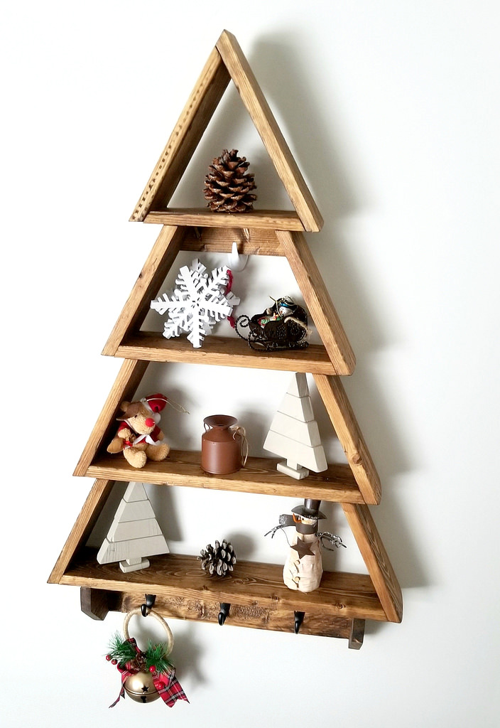 Christmas tree wall shelf by Turtles and Tails, featured on Funky Junk Interiors