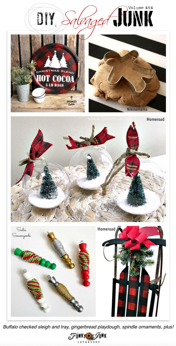 DIY Salvaged Junk Projects 434 - Buffalo checked sleigh and tray, gingerbread playdough, spindle ornaments, plus!