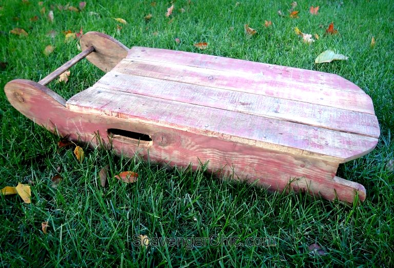DIY pallet wood vintage sleigh by Scavenger Chic, featured on Funky Junk Interiors