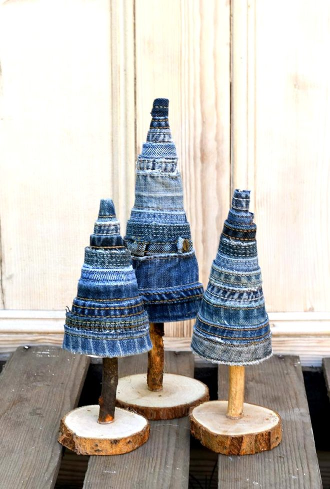 Denim Christmas trees by Pillar Box Blue, featured on Funky Junk Interiors
