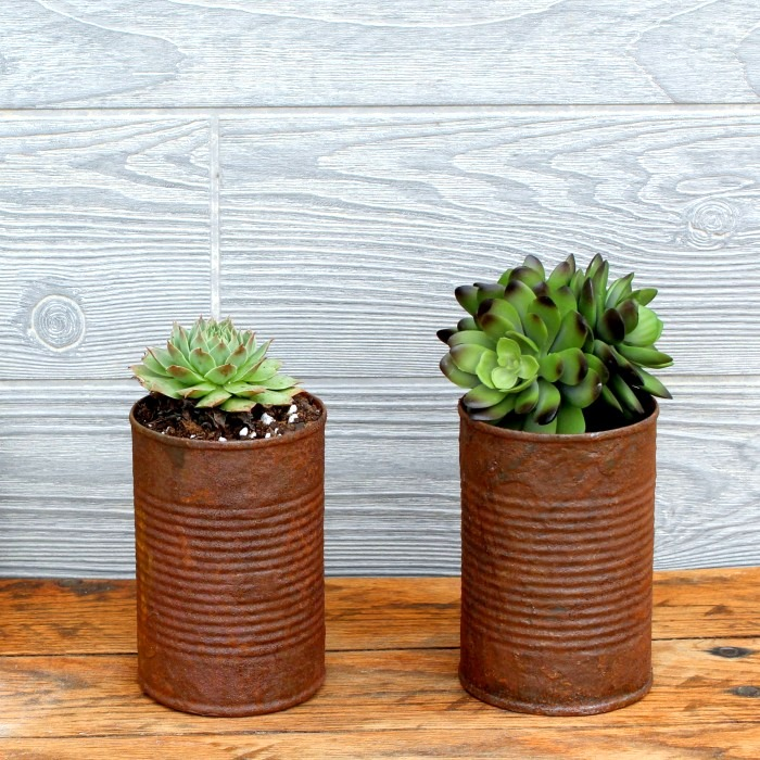 DIY rust on new tin cans by Knick of Time, featured on Funky Junk Interiors