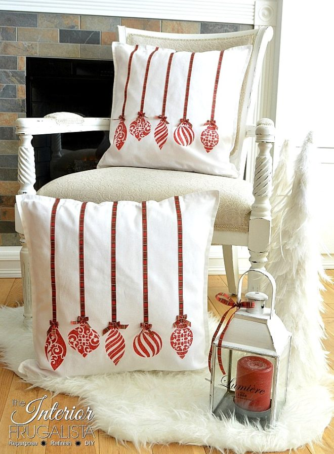 Holiday Ornament Pillow Covers by Interior Frugalista, featured on Funky Junk Interiors