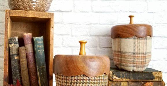 How-to-create-DIY-tweed-acorn-decor-with-upcycled-tweed-sportcoats-and-vintage-nut-bowl-caps-by-Sadie-Seasongoods