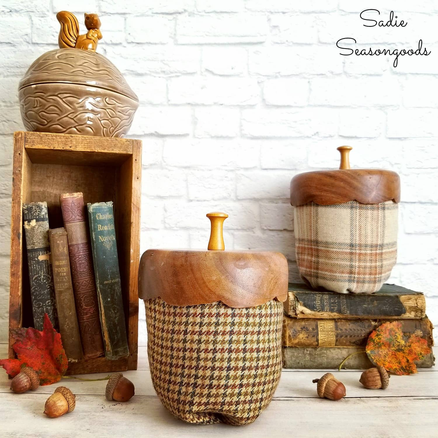 Oversized acorns from nut bowls by Sadie Seasongoods, featured on Funky Junk Interiors