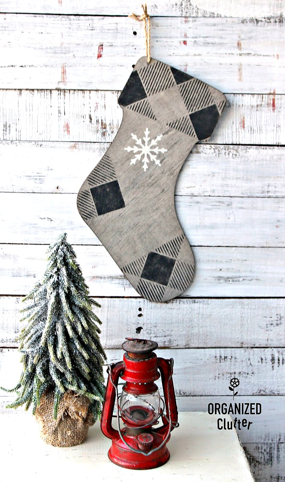 Buffalo Checked stenciled wooden Christmas stocking by Organized Clutter, featured on Funky Junk Interiors