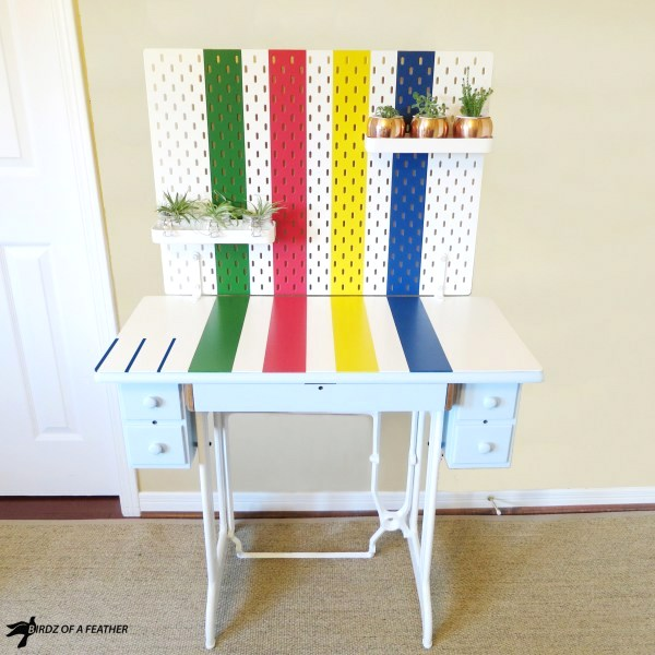 Painted Hudson's Bay blanket desk by Birdz of a Feather, featured on Funky Junk Interiors