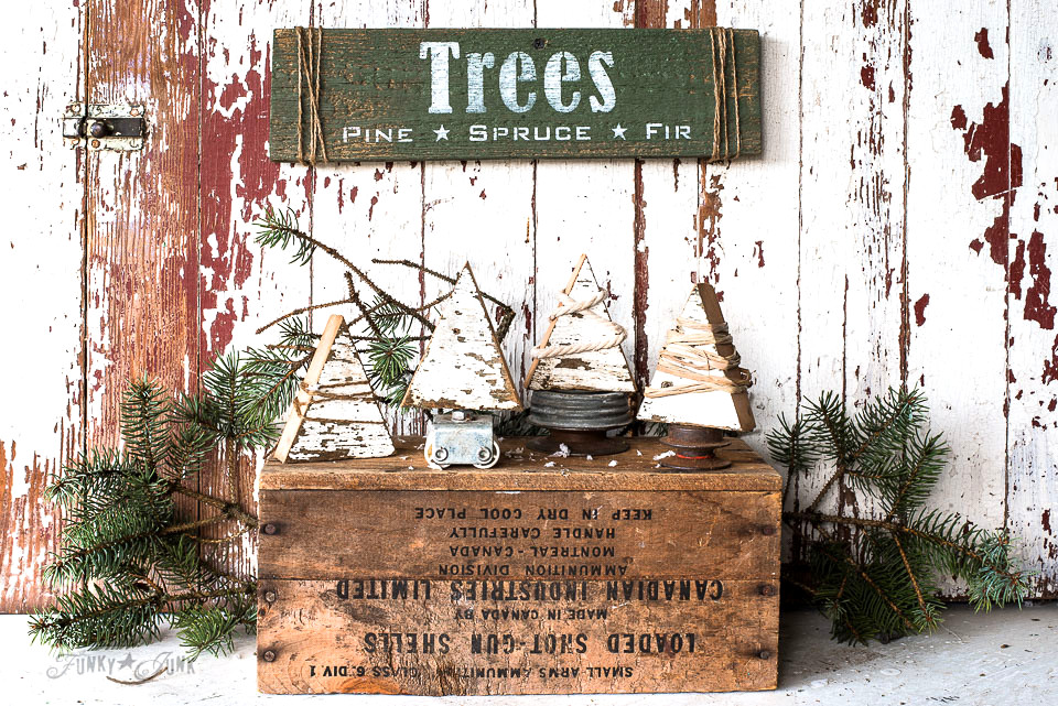 Make these charming string wrapped wood Christmas trees with junk stands with cute Trees sign in minutes! With Funky Junk's Old Sign Stencils