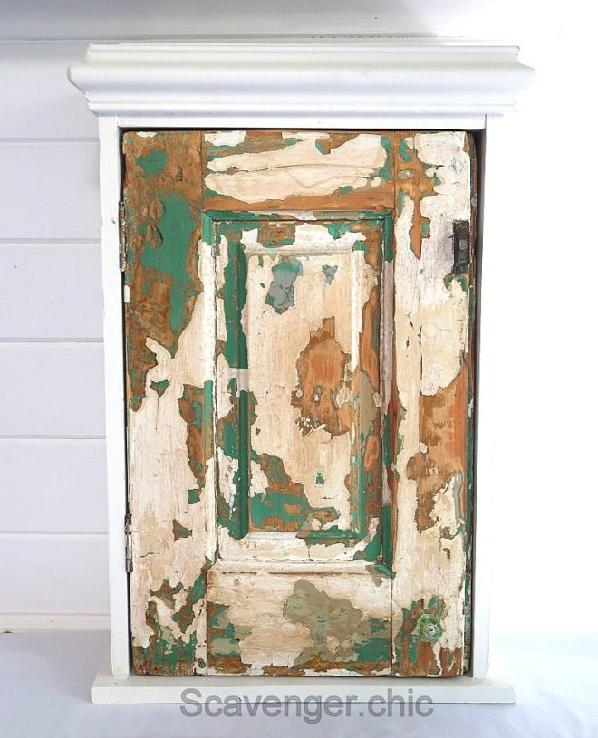 Up-cycled chippy door cabinet by Scavenger Chic, featured on Funky Junk Interiors
