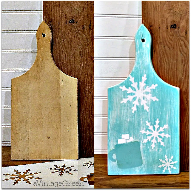 Aqua winter and hot cocoa cutting board by A Vintage Green, featured on Funky Junk Interiors