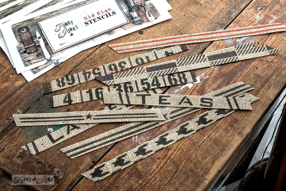 Burlap bookmarks painted with Funky Junk's Old Sign Stencils and Fusion Mineral Paint