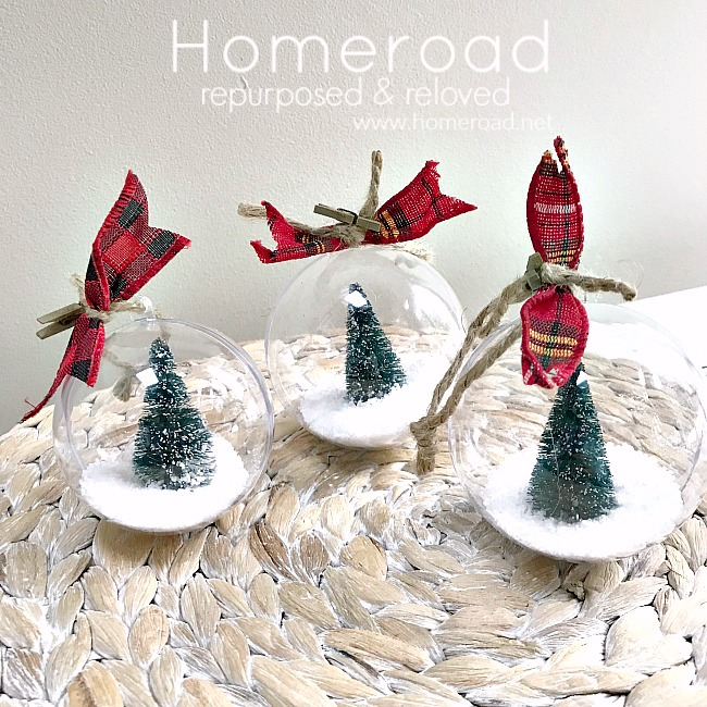 Bottle brush tree snow globe ornaments by Homeroad, featured on Funky Junk Interiors