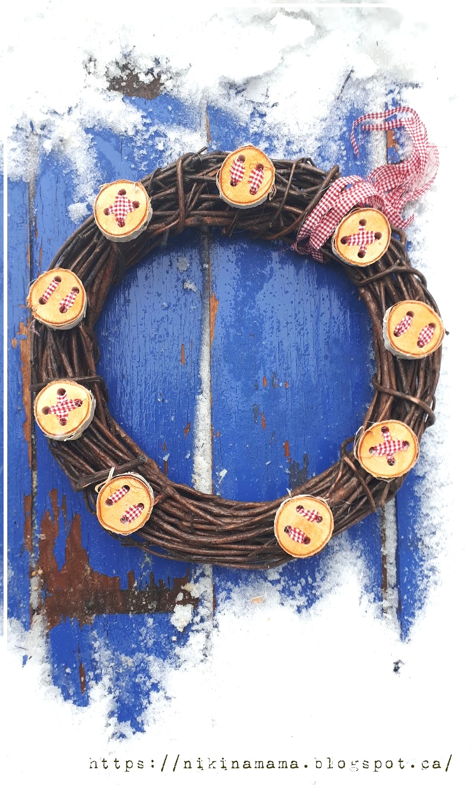 Winter wood slice button wreath by Nikinamama, featured on Funky Junk Interiors