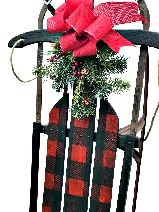Winter or Christmas Buffalo Check sleigh porch decor by Homeroad, featured on Funky Junk Interiors