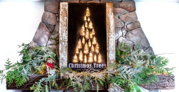 Illuminated Christmas Trees mantel sign