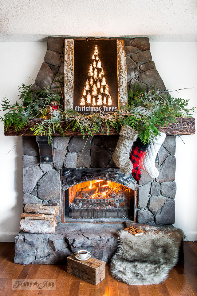 Illuminated Christmas Trees mantel sign with buffalo check and fur stockings - part of a Christmas home tour