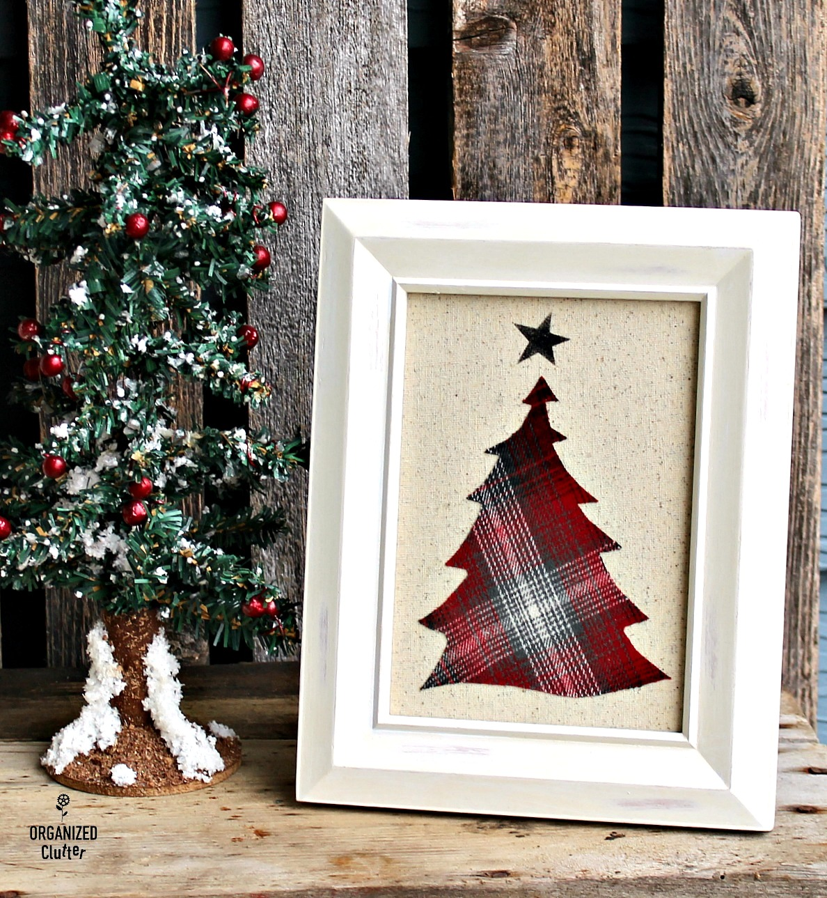 Plaid fabric Christmas trees by Organized Clutter, featured on Funky Junk Interiors