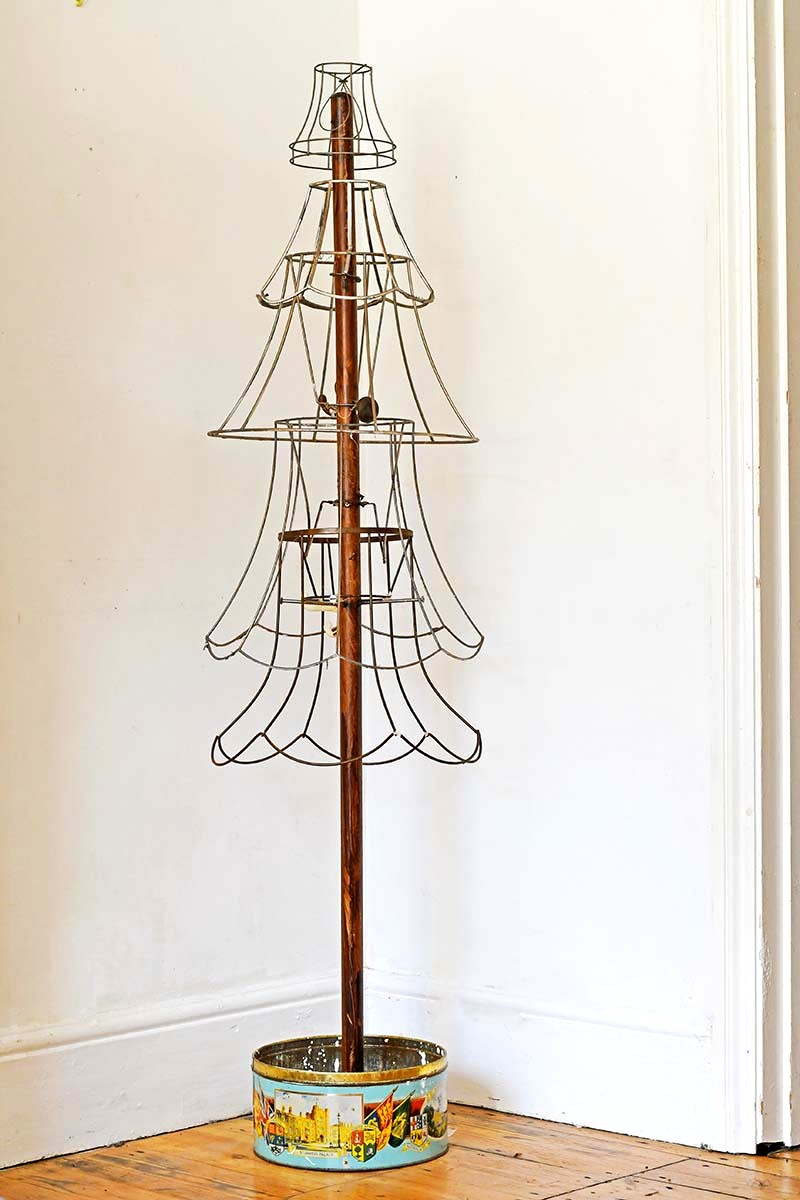 Industrial lampshade Christmas tree by Pillar Box Blue, featured on Funky Junk Interiors
