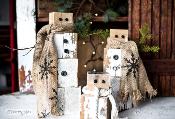 scrap wood rusty junk snowmen with rope and burlap scarves-001