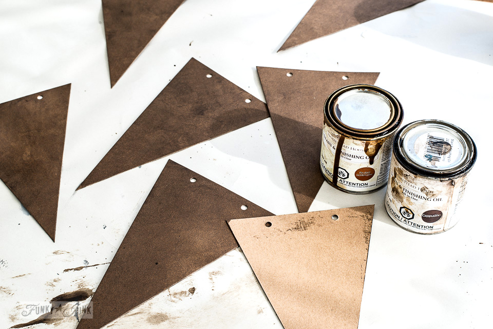 Create this cardboard stenciled banner that resembles leather, using Funky Junk's Old Sign Stencils and Fusion Mineral Paint
