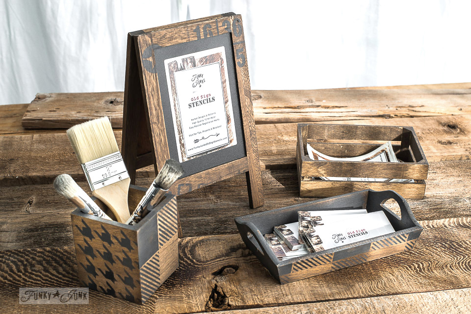 Dollar store wood accessories revamped into rustic signs, brush holders and business card tray using Funky Junk's Old Sign Stencils Buffalo Check and Houndstooth with Fusion Mineral Paint