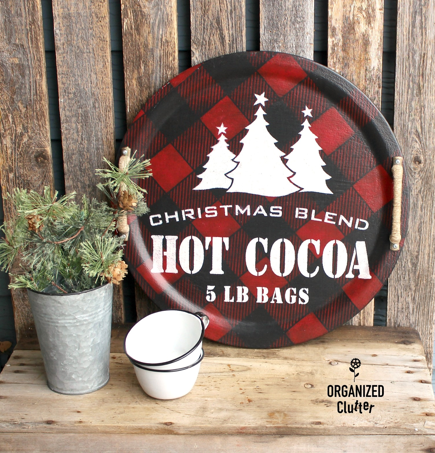 Christmas Buffalo Checked hot cocoa tray by Organized Clutter, featured on Funky Junk Interiors