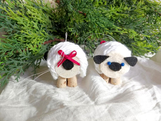 Thread spool and cork sheep ornaments by Little Vintage Cottage, featured on Funky Junk Interiors
