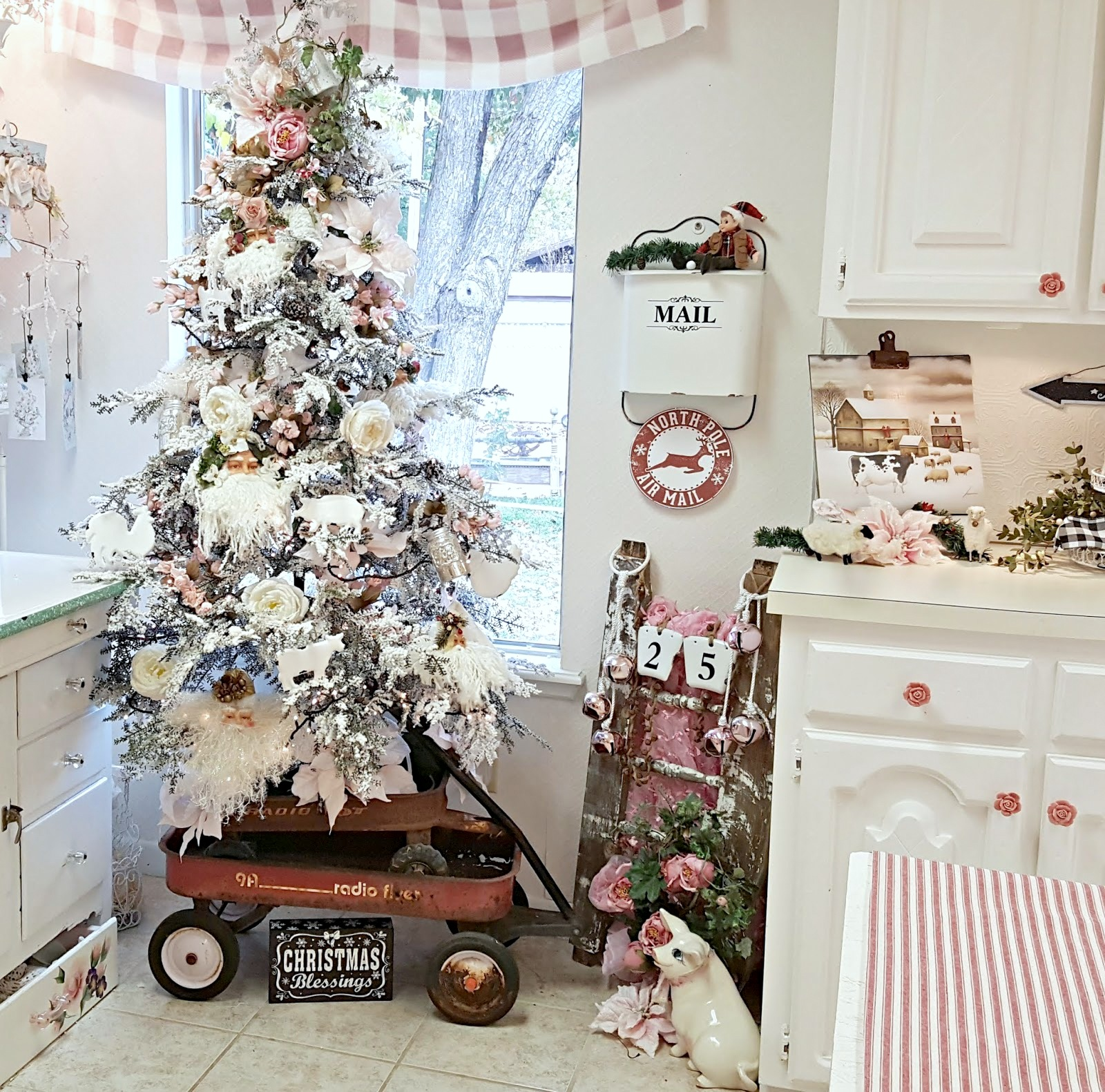Vintage red wagon Christmas Tree skirt by Penny's Vintage Home, featured on Funky Junk Interiors