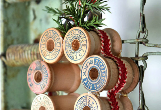 vintage thread spool Christmas wreaths