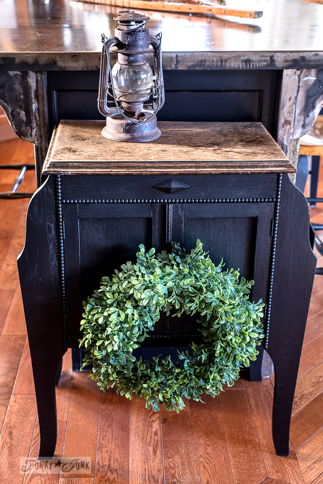 Little black painted antique side table with a wreath for Christmas - Fusion Mineral Paint coal black