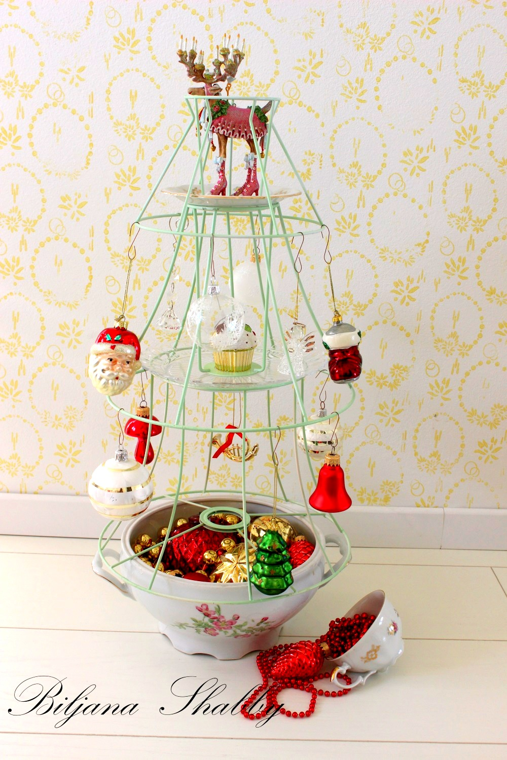 Lampshade Christmas tree by Bilijana Shabby, featured on Funky Junk Interiors