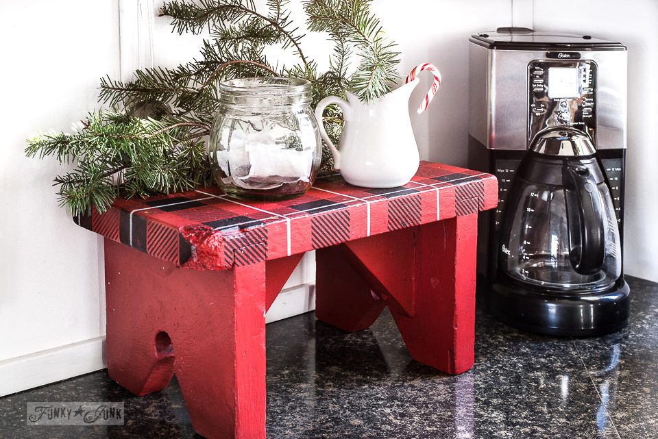 Buffalo Checked coffee station stool in a Christmas kitchen tour