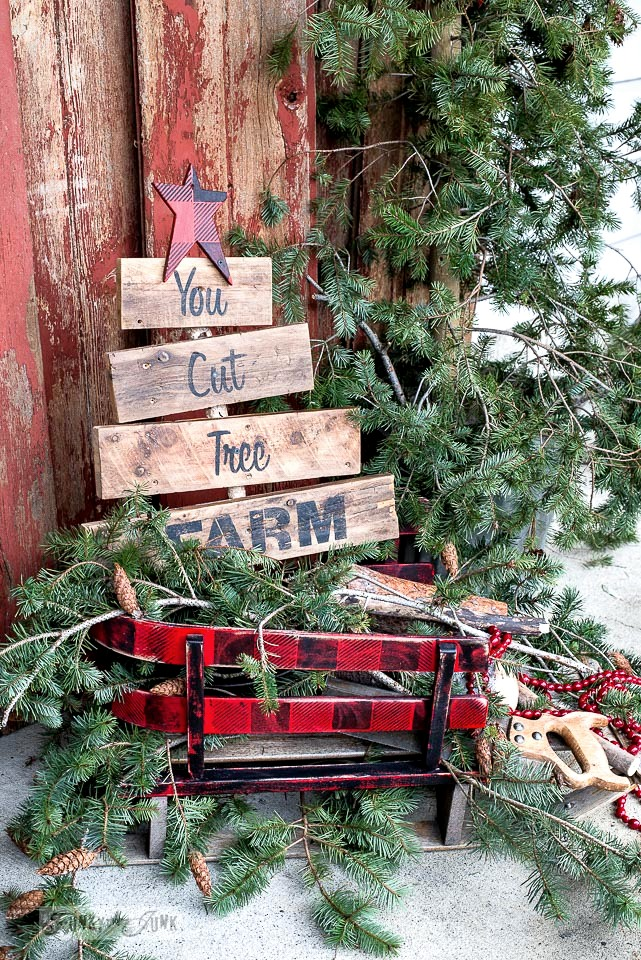 Buffalo Checked sleigh and star with You Cut Tree Farm sign for Christmas decorating with Funky Junk's Old Sign Stencils and Fusion Mineral Paint