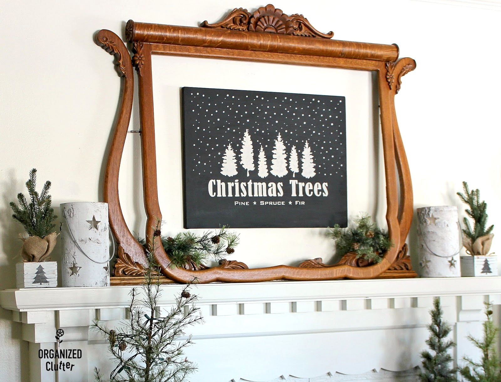 Christmas Trees black and white stenciled mantel sign by Organized Clutter, featured on Funky Junk Interiors