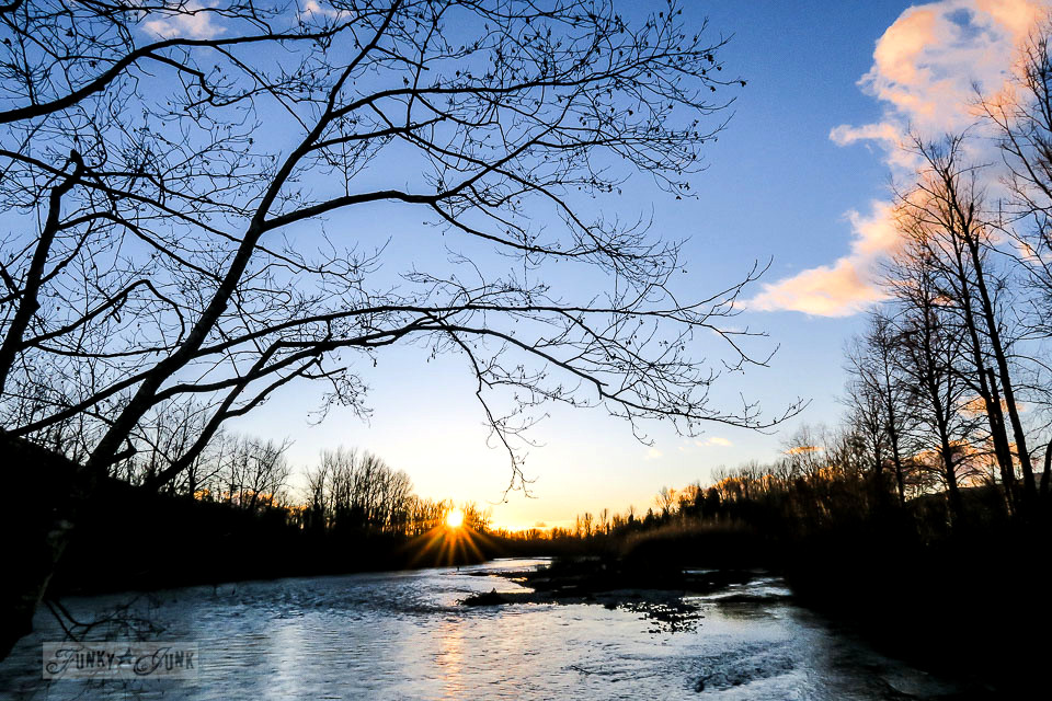 Sunset on the river during a Christmas bike ride along the Vedder River Rotary Trail in Chilliwack BC.