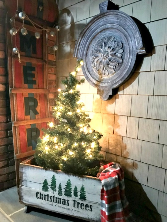 Christmas Trees crate on a front porch by Homeroad, featured on Funky Junk Interiors