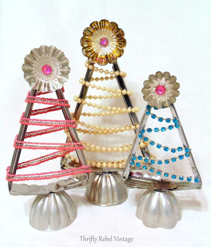 Salad tong Christmas trees by Thrifty Rebel Vintage, featured on Funky Junk Interiors
