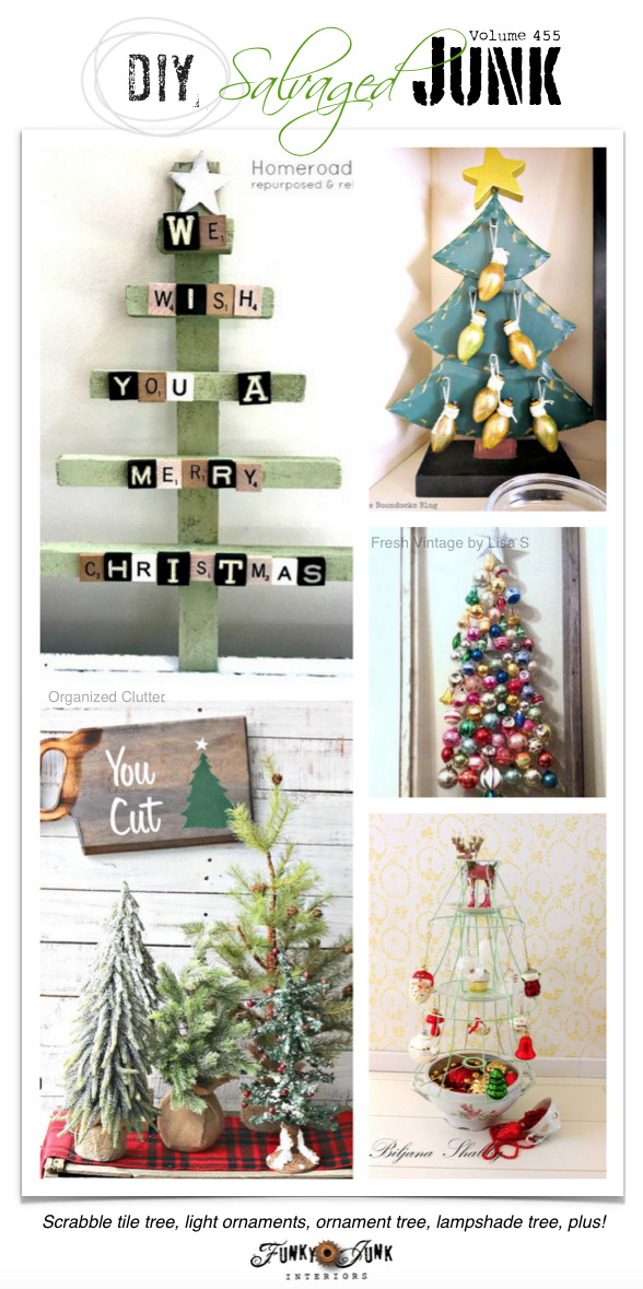 DIY Salvaged Junk Projects 455 - Scrabble tile tree, light ornaments, ornament tree, lampshade tree, plus!
