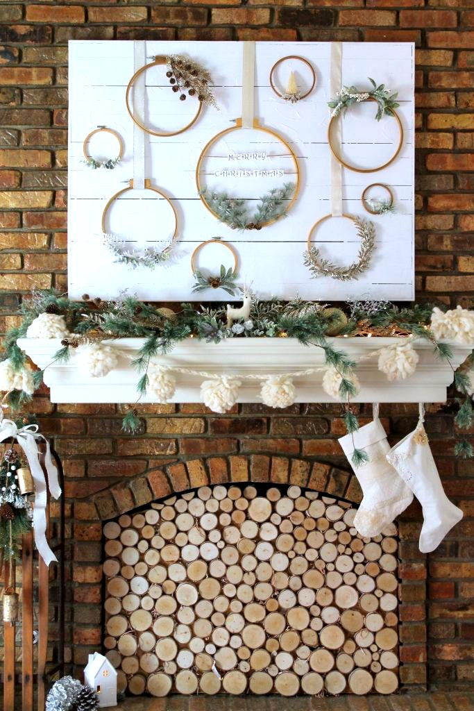 Embroidery hoop Christmas wreaths mantel by Decor To Adore, featured on Funky Junk Interiors