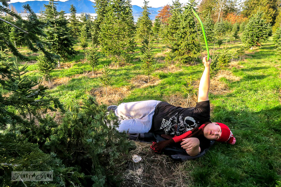 Dramatically tired after sawing down this year's Christmas tree