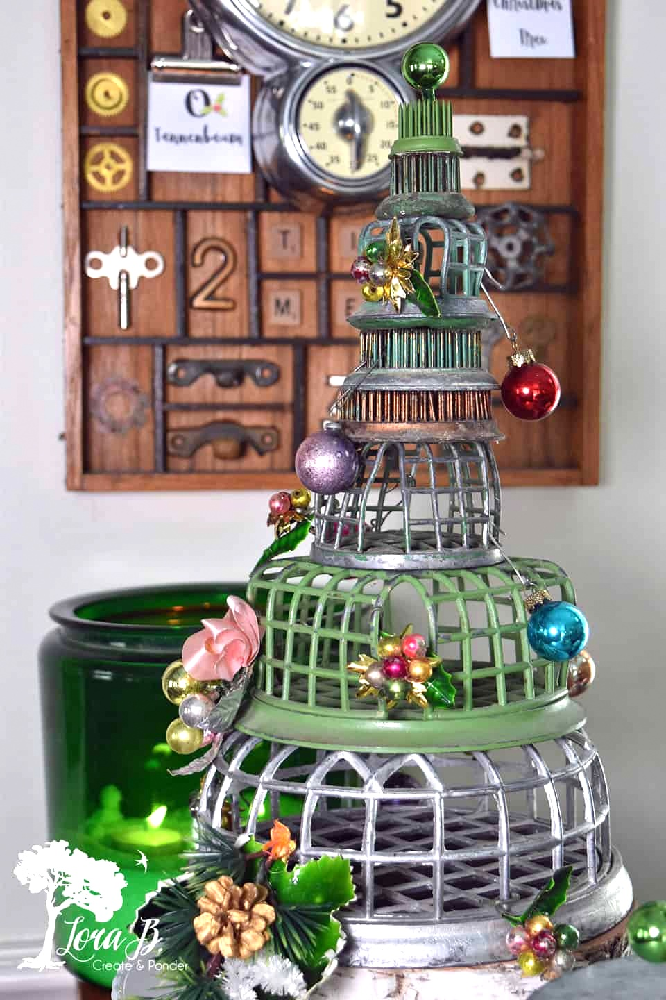 Vintage flower frog Christmas tree by Lora B, featured on Funky Junk Interiors