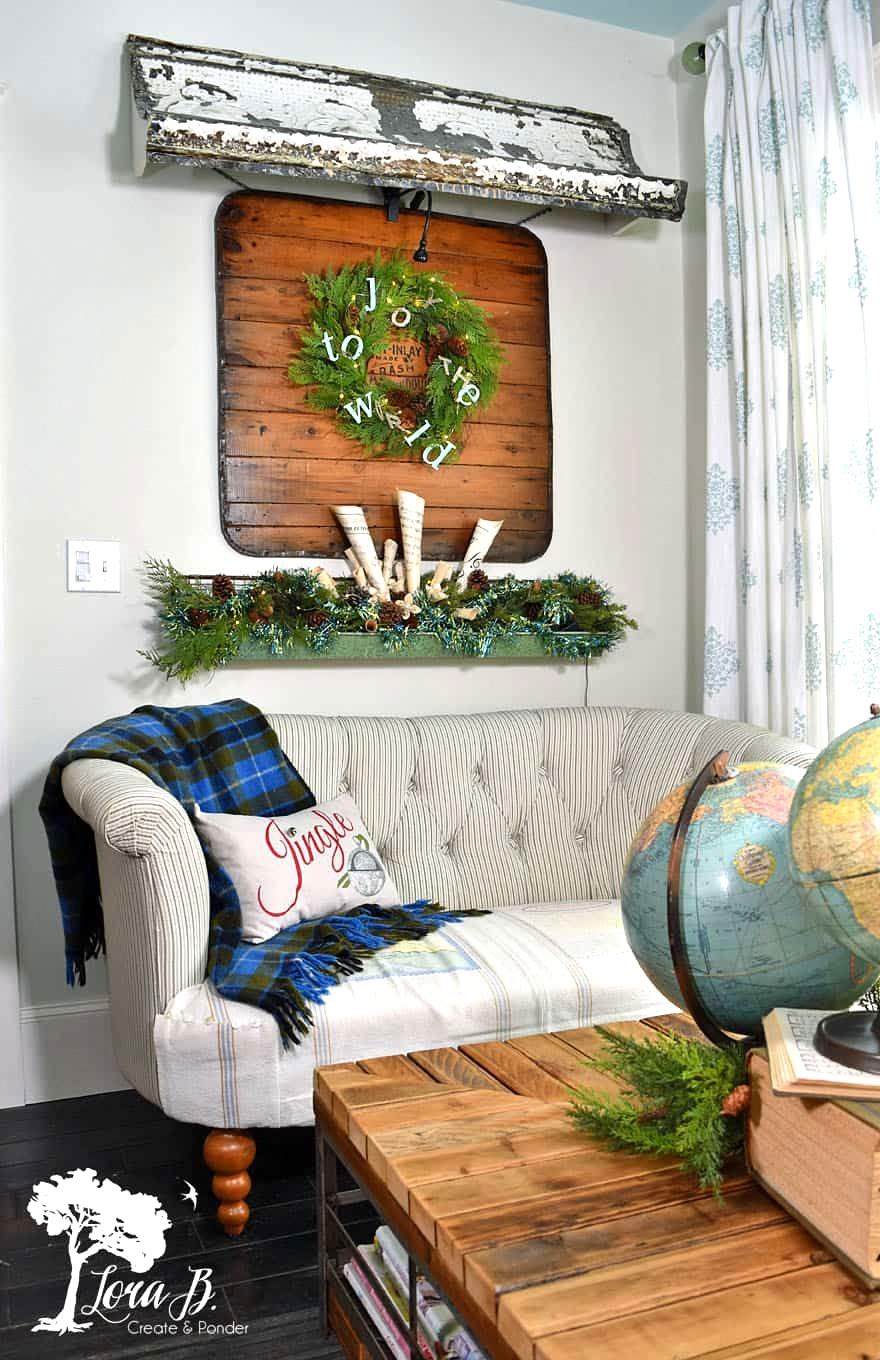 Vintage Christmas home tour with globes by Lora B, featured on Funky Junk Interiors