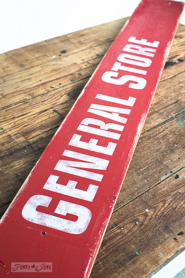 How to make an antique red General Store sign aged with wax from Funky Junk's Old Sign Stencils and Fusion Mineral Paint