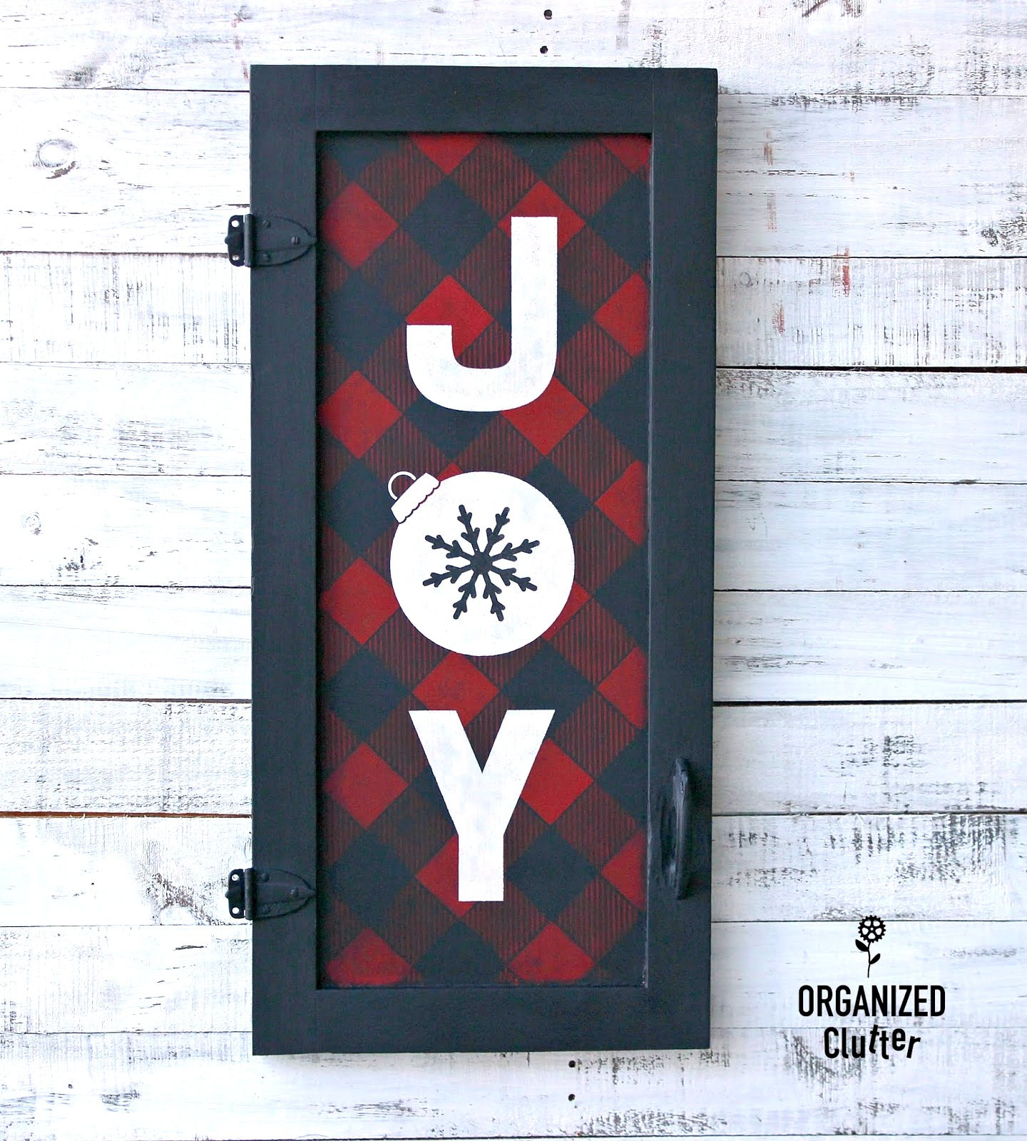 JOY buffalo checked Christmas sign by Organized Clutter, featured on Funky Junk Interiors