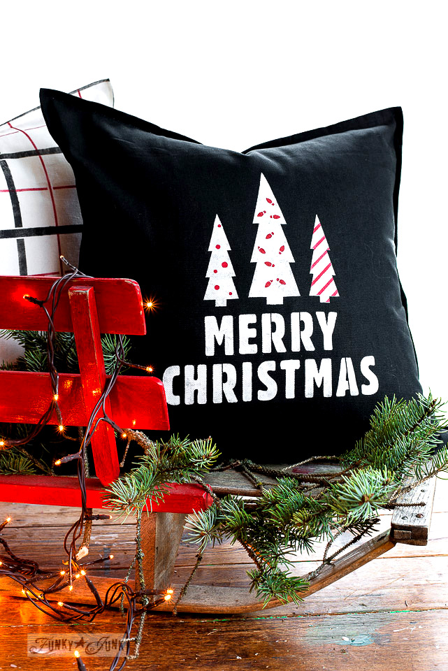 Merry Christmas black and white pillow with red tree decorations with Funky Junk's Old Sign Stencils