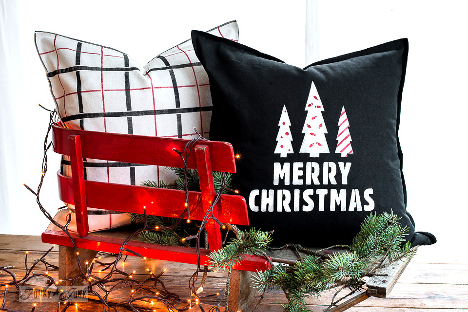 Merry Christmas and Plaid coordinated red, black and white pillows for Christmas with Funky Junk's Old Sign Stencils