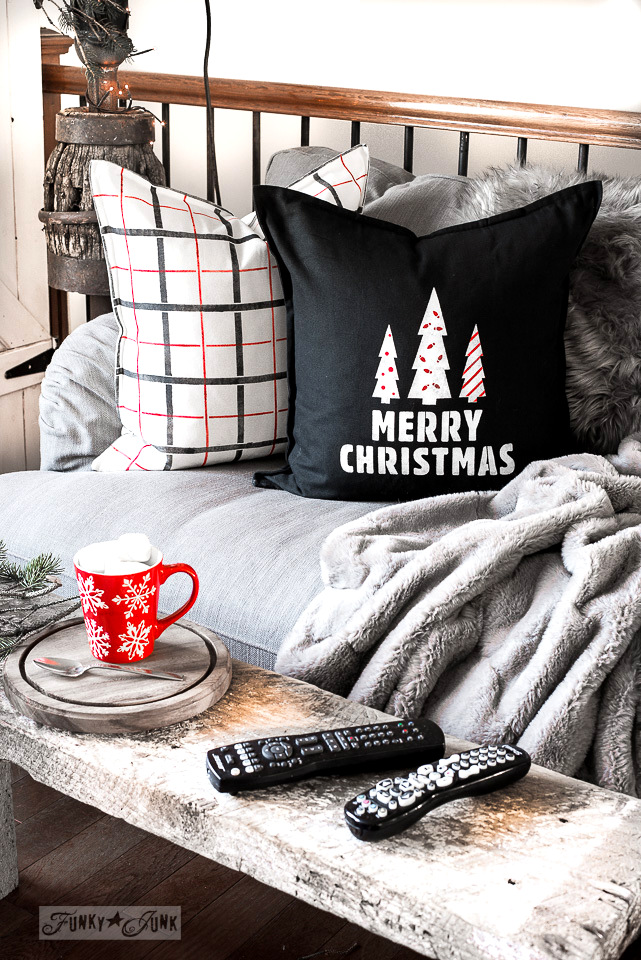Merry Christmas and Plaid coordinated red, black and white pillows for Christmas in a livingroom with Funky Junk's Old Sign Stencils