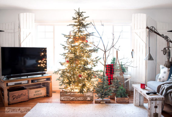 Rustic Christmas tree forest in a livingroom with DIY crate skirt-001